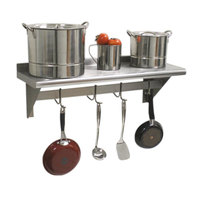 Advance Tabco PS-12-96 Stainless Steel Wall Shelf with Pot Rack - 12 inch x 96 inch