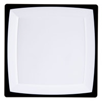 WNA Comet MS75WTUX 6 3/4 inch Square Milan Tuxedo Plastic Salad Plate - 12 / Pack