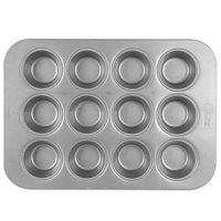 Chicago Metallic 45125 12 Cup 3.8 oz. Glazed Aluminized Steel Muffin / Cupcake Pan - 11 1/8 inch x 15 3/4 inch