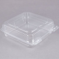 Durable Packaging PXT-900 9 inch x 9 inch x 3 inch Clear Hinged Lid Plastic Container   - 100/Pack
