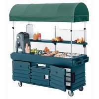 Cambro KVC856C192 CamKiosk Granite Green Customizable Vending Cart with 6 PanWells and Canopy
