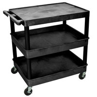 Luxor TC211-B Black Three Shelf Utility Cart
