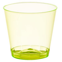 Fineline Quenchers 401-Y 1 oz. Neon Yellow Hard Plastic Shot Cup - 2500/Case