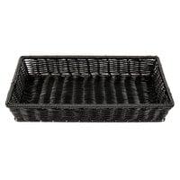 GET WB-1553-BK 16 1/4 inch x 11 inch x 2 1/2 inch Designer Polyweave Black Rectangular Basket - 12/Case