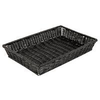 GET WB-1553-BK Designer Polyweave 16 1/4 inch x 11 inch x 2 1/2 inch Black Rectangular Plastic Basket