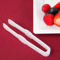 Fineline 6503-WH Tiny Temptations Tiny Tongs 4 1/2 inch White Plastic Tongs - 200/Case