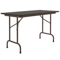 Correll Folding Table, 24 inch x 48 inch Melamine Top, Walnut - CF2448M