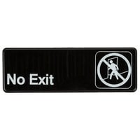 9 inch x 3 inch Black and White No Exit Sign