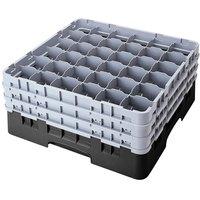 Cambro 36S900110 Black Camrack Customizable 36 Compartment 9 3/8 inch Glass Rack