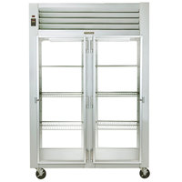 Traulsen G21016P 2 Section Glass Door Pass-Through Refrigerator - Right / Left Hinged Doors