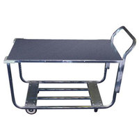 Winholt WX-1000KA/B-WM Two Shelf Stocking Cart with Bumpers and Handle - 41 inch x 20 inch