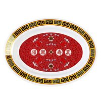Longevity 13 inch x 9 3/4 inch Oval Melamine Deep Platter - 12/Pack