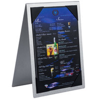 Menu Solutions MTDBL-57 Alumitique Two View Brushed Aluminum Menu Tent with Picture Corners - 5 inch x 7 inch