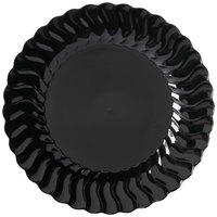 Fineline Flairware 207-BK 7 1/2 inch Black Customizable Plastic Plate   - 180/Case
