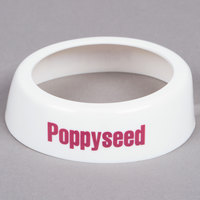 Tablecraft CM13 Imprinted White Plastic Poppyseed Salad Dressing Dispenser Collar with Maroon Lettering
