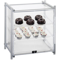 Cal-Mil 1145-S-74 One by One Three Tier Silver Display Case with Front Doors - 20 1/2 inch x 17 inch x 22 inch