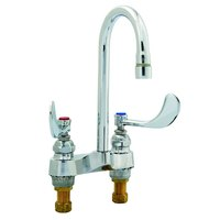 T&S B-0892-01QT Deck Mount Medical Lavatory Faucet with 4 inch Centers, 4 inch Wrist Action Handles, 2.2 GPM Outlet, and Quarter Turn Eterna Cartridges - 10 7/8 inch High Gooseneck with 4 3/8 inch Spread