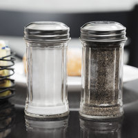 Tablecraft 657 2 oz. Fluted Glass Salt and Pepper Shaker with Stainless Steel Top   - 24/Case