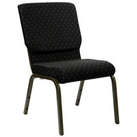 Flash Furniture XU-CH-60096-BK-GG Black Dot Patterned 18 1/2 inch Wide Church Chair with Gold Vein Frame