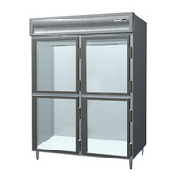 Delfield SSRPT2-GH 55.42 Cu. Ft. Two Section Glass Half Door Pass-Through Refrigerator - Specification Line