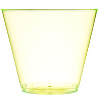 Fineline Savvi Serve 409-Y 9 oz. Squat Neon Yellow Hard Plastic Tumbler - 500/Case
