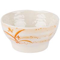 Thunder Group 3706 Gold Orchid 14 oz. Round Melamine Wave Rice Bowl - 12/Case