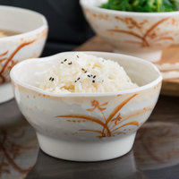 Thunder Group 3706 Gold Orchid 14 oz. Round Melamine Wave Rice Bowl - 12/Case