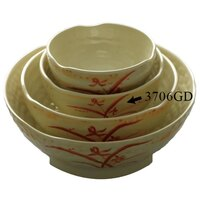 Gold Orchid 14 oz. Round Melamine Wave Rice Bowl - 12/Case