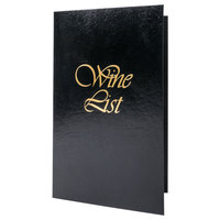 5 1/2 inch x 8 1/2 inch Menu Solutions L702A Wine List Cover - Black