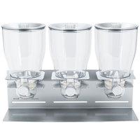 Zevro KCH-06151 Professional Silver Triple Canister Dry Food Dispenser