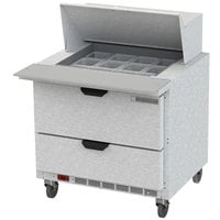 Beverage Air SPED36HC-12M-2 36 inch 2 Drawer Mega Top Refrigerated Sandwich Prep Table