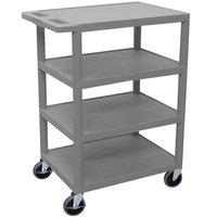 Luxor BC45 Gray 4 Shelf Serving Cart - 18 inch x 24 inch x 36 inch