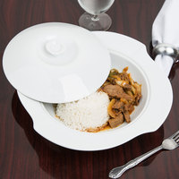 CAC COL-120 Fashion 30 oz. Bright White Porcelain Pasta Serving Bowl with Lid - 8/Case