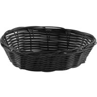 Tablecraft 2471 7 inch x 5 inch x 2 inch Black Oval Rattan Basket - 12/Pack