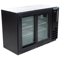 Beverage-Air BB48HC-1-GS-B 48 inch Black Back Bar Refrigerator with 2 Sliding Glass Doors - 115V