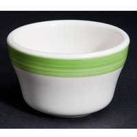 CAC R-4-G Rainbow 7.25 oz. Green Rolled Edge Stoneware Bouillon Bowl - 36/Case