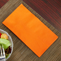 Orange Paper Dinner Napkin, Choice 2-Ply, 15 inch x 17 inch - 125/Pack