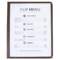 8 1/2 inch x 11 inch Two Pocket Menu Cover - Brown