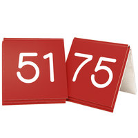 Cal-Mil 269C-1 Red Engraved Number Tent Sign Set 51-75 - 3 inch x 3 inch