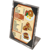 Menu Solutions MTPIX-58 Aluminum Menu Tent with Picture Corners - Swirl Finish - 5 1/2 inch x 8 1/2 inch