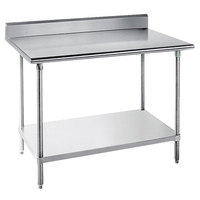 Advance Tabco KLG-302 30 inch x 24 inch 14 Gauge Work Table with Galvanized Undershelf and 5 inch Backsplash