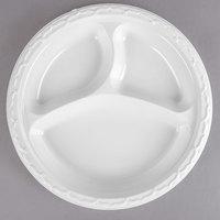 Genpak 73900 Aristocrat 9 inch White 3 Compartment Premium Plastic Plate   - 500/Case