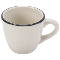 CAC SC-35B Seville 3.5 oz. Ivory Scalloped Edge China Cup with Black Band - 36/Case