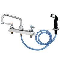 T&S B-1172-07 Deck Mounted Workboard Faucet with Self-Closing Spray Valve and 8 inch Centers - 8 inch Swing Nozzle