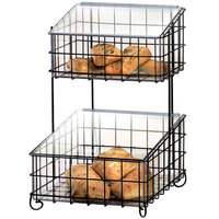 Cal-Mil 1203-13 Black Two Tier Metal Bagel Basket with Lidded Inserts