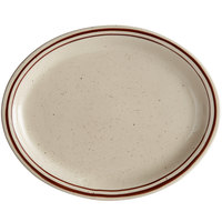 Choice 13 1/4 inch x 10 1/8 inch Brown Speckle Narrow Rim Oval Stoneware Platter - 12/Case