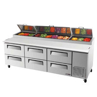 Turbo Air TPR-93SD-D6 93 inch Six Drawer Pizza Prep Table
