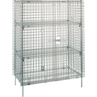 Metro SEC66C Chrome Stationary Wire Security Cabinet 62 1/2 inch x 33 1/2 inch x 66 13/16 inch