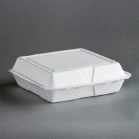 Dart Solo 95HT1R 9 1/2 inch x 9 inch x 3 inch White Foam Square Take Out Container with Hinged Lid - 200 / Case