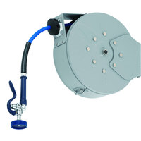 T&S B-7222-C10 30' Enclosed Epoxy Coated Steel Hose Reel with EB-2322 Extended Spray Wand